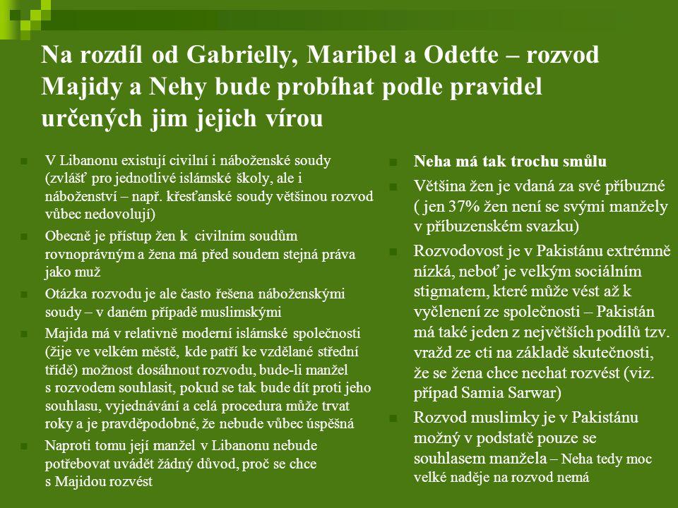 Na rozdíl od Gabrielly, Maribel a Odette – rozvod Majidy a Nehy bude probíhat podle pravidel určených jim jejich vírou