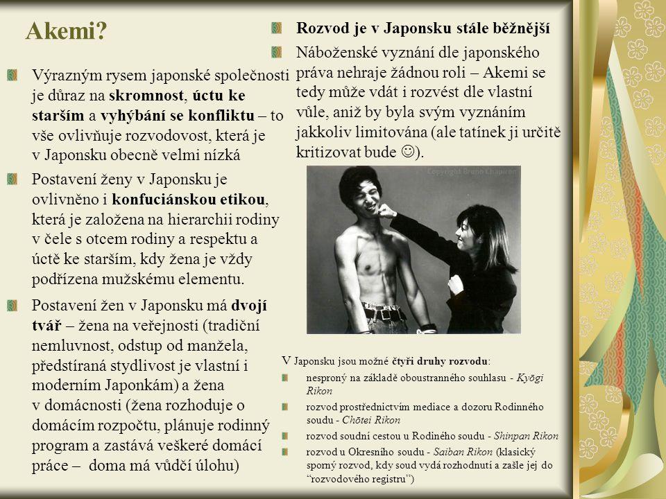 Akemi Rozvod je v Japonsku stále běžnější