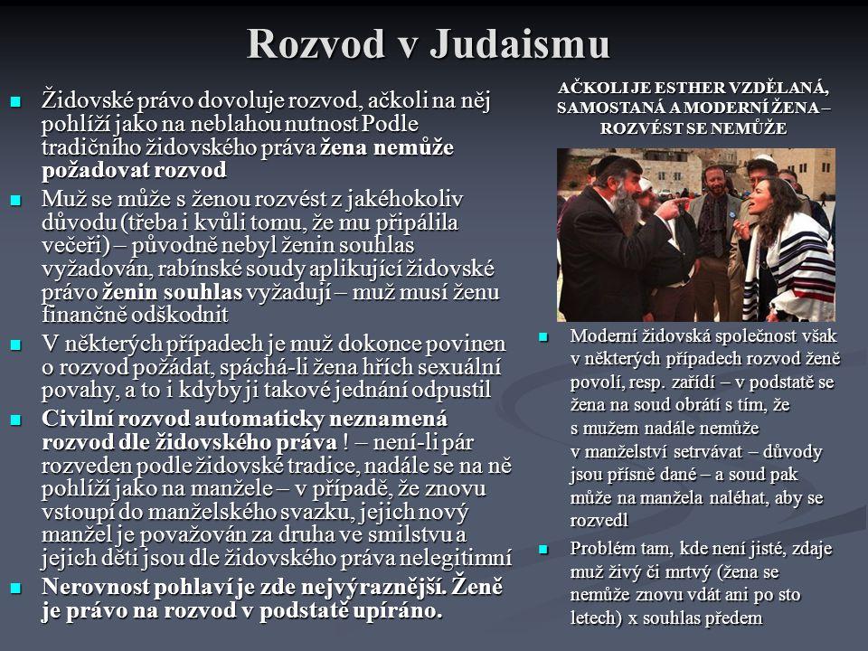 Rozvod v Judaismu AČKOLI JE ESTHER VZDĚLANÁ, SAMOSTANÁ A MODERNÍ ŽENA – ROZVÉST SE NEMŮŽE.