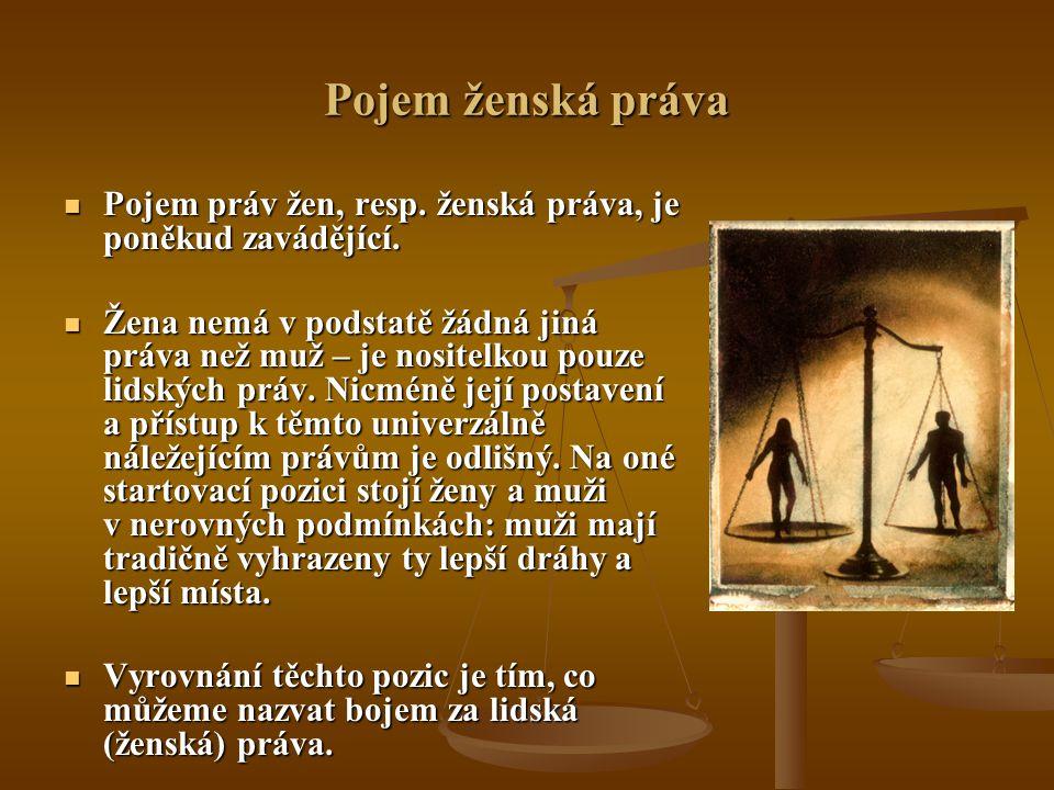 Pojem ženská práva Pojem práv žen, resp. ženská práva, je poněkud zavádějící.