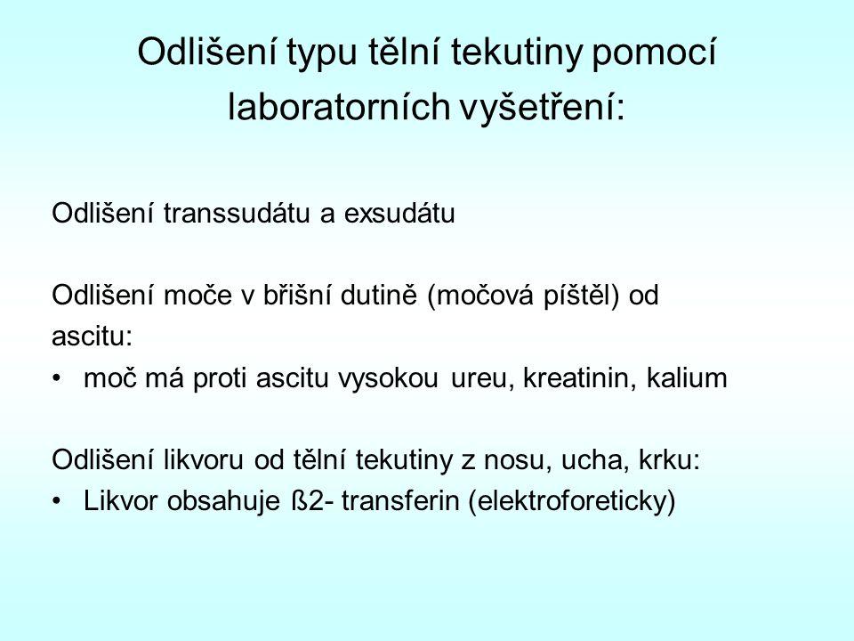 Odlišení typu tělní tekutiny pomocí laboratorních vyšetření: