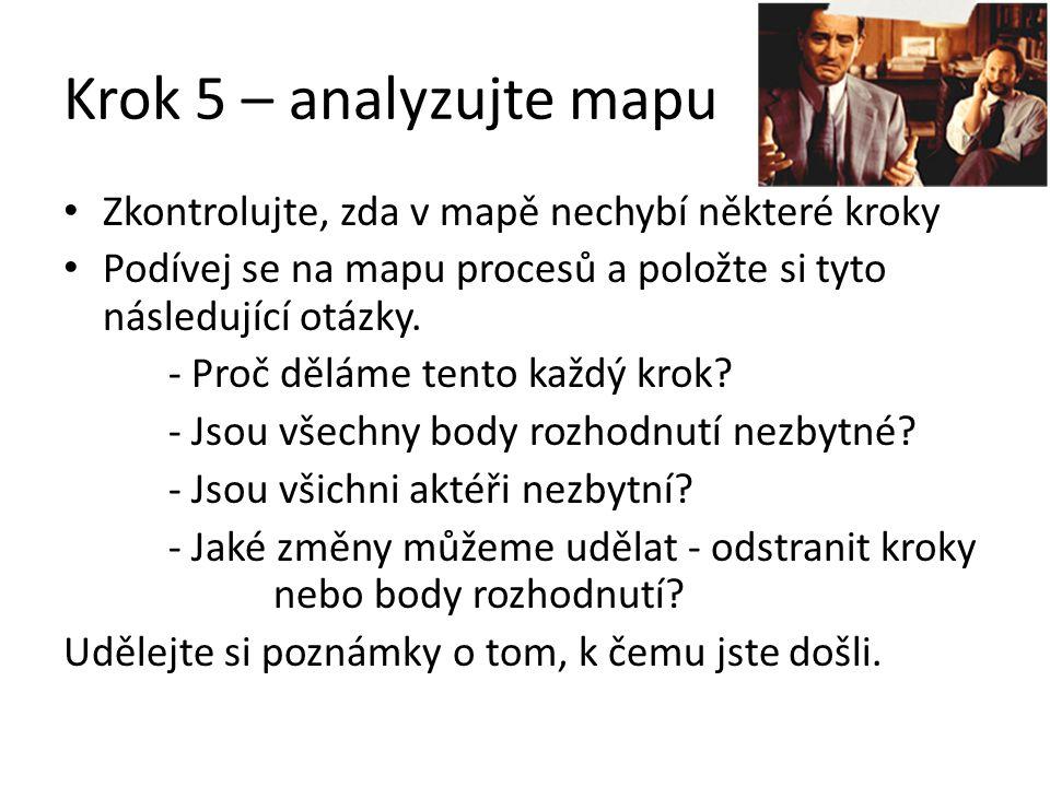 Krok 5 – analyzujte mapu Zkontrolujte, zda v mapě nechybí některé kroky. Podívej se na mapu procesů a položte si tyto následující otázky.