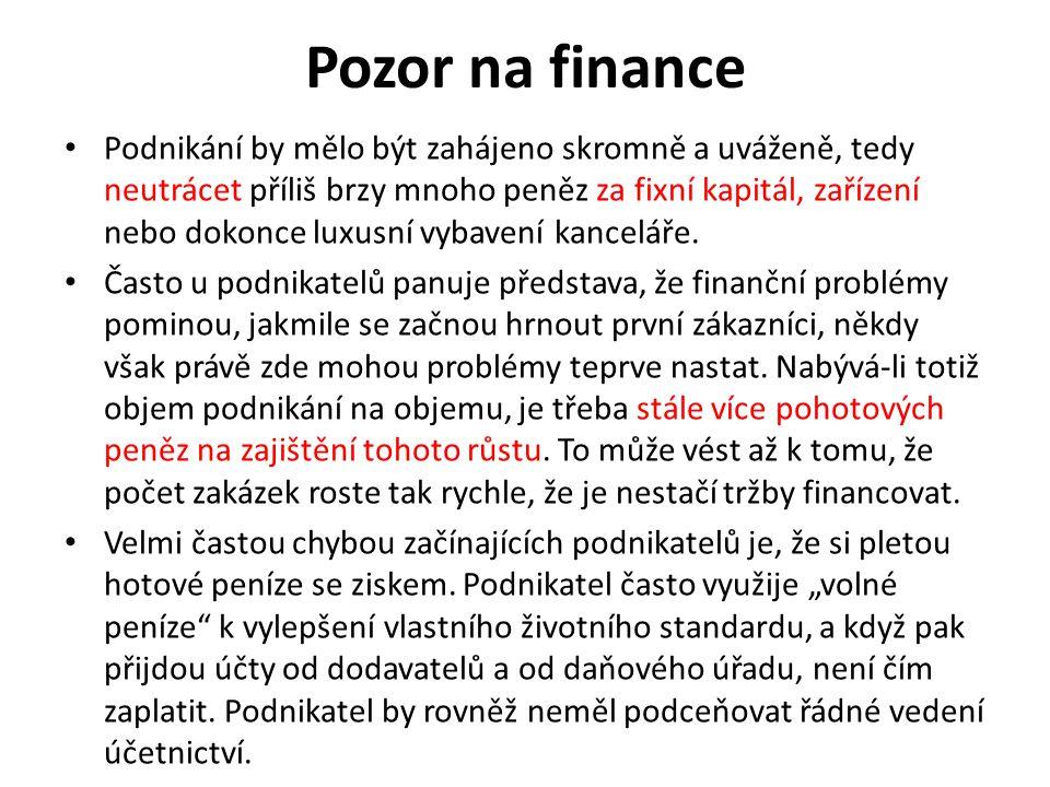 Pozor na finance