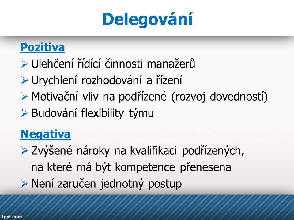 Delegování Pozitiva Ulehčení řídící činnosti manažerů