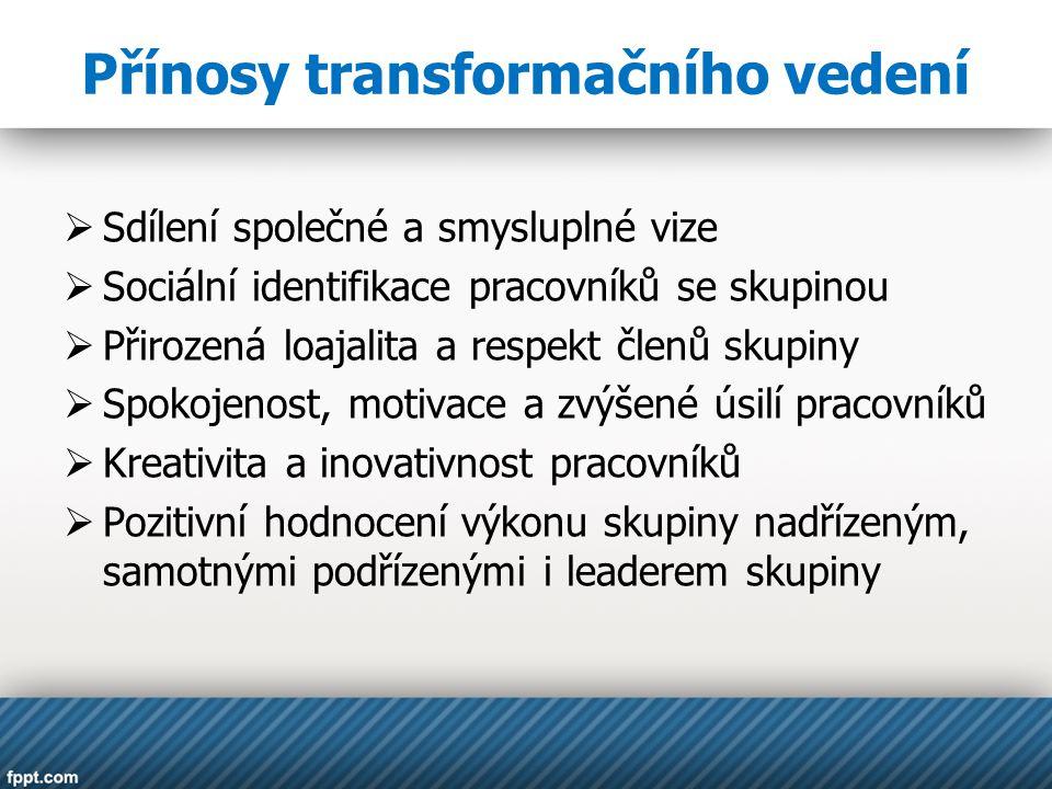 Přínosy transformačního vedení
