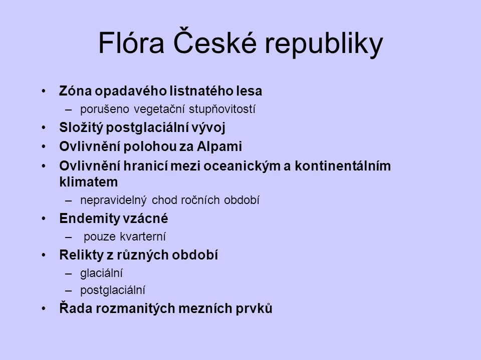 Flóra České republiky Zóna opadavého listnatého lesa