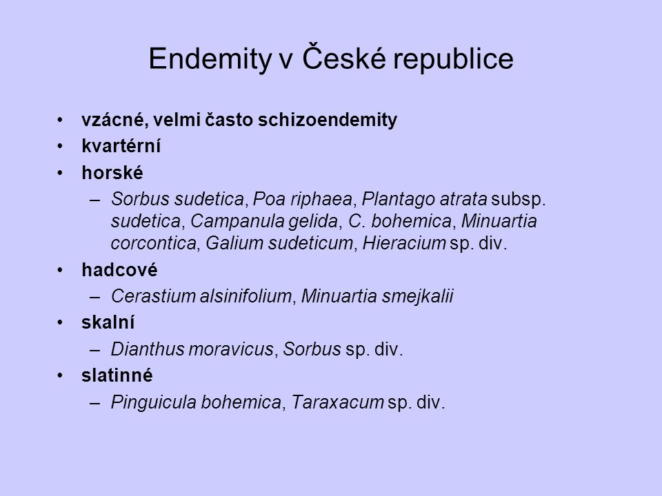 Endemity v České republice