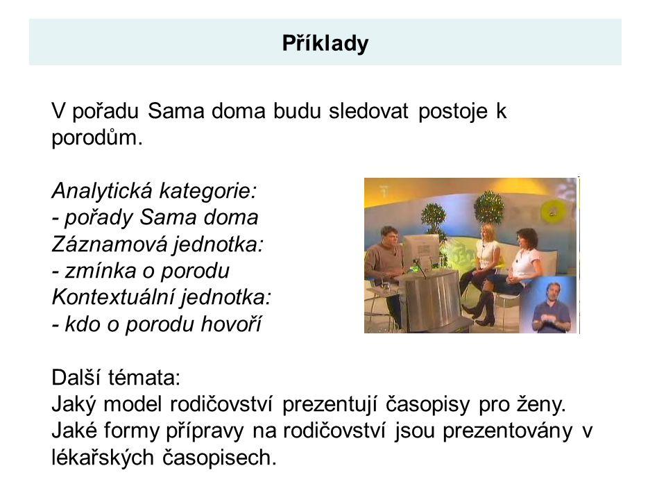 Příklady V pořadu Sama doma budu sledovat postoje k porodům. Analytická kategorie: - pořady Sama doma.