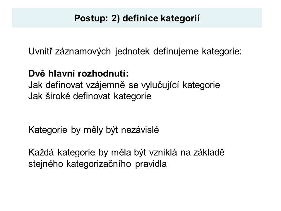 Postup: 2) definice kategorií