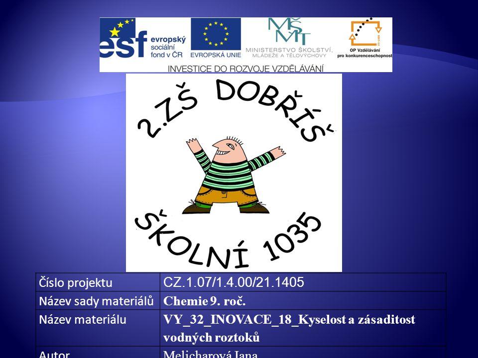 Číslo projektu CZ.1.07/1.4.00/21.1405. Název sady materiálů. Chemie 9. roč. Název materiálu.