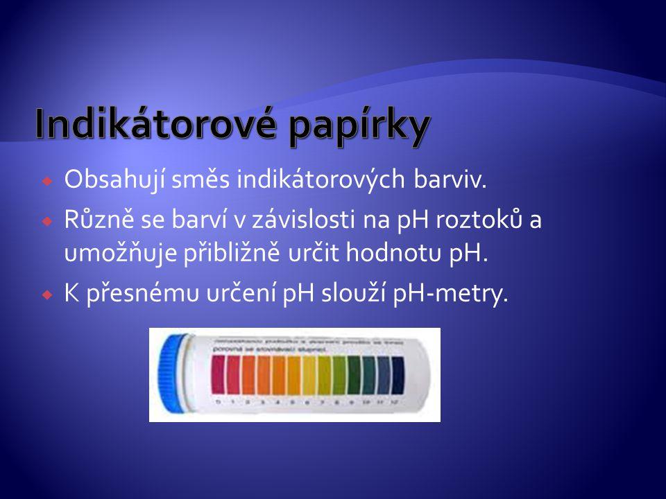 Indikátorové papírky Obsahují směs indikátorových barviv.