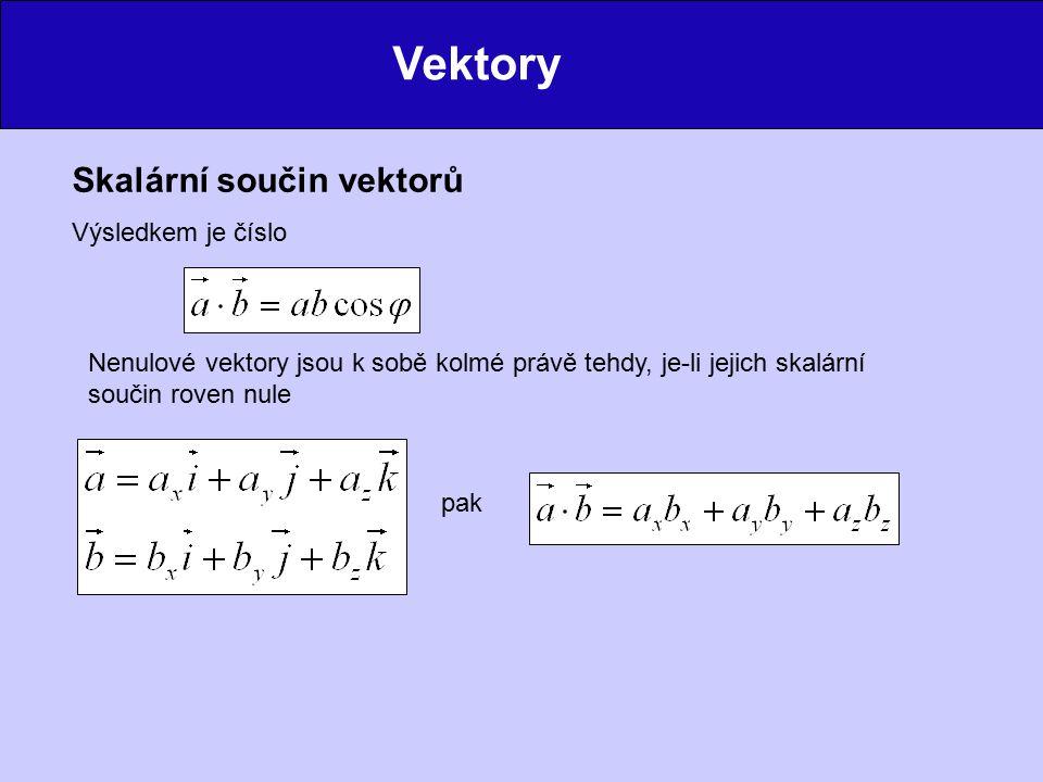 Vektory Skalární součin vektorů Výsledkem je číslo