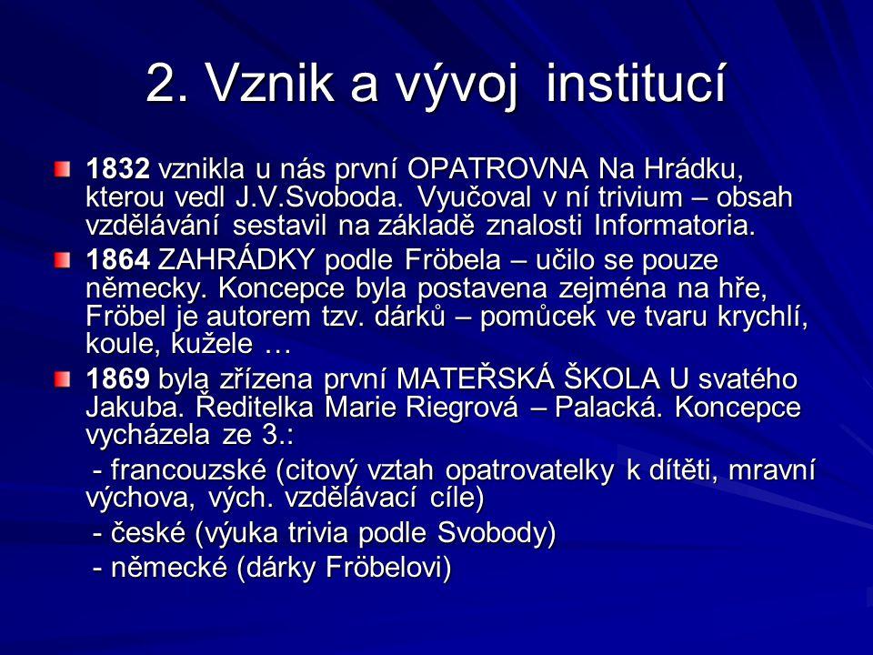2. Vznik a vývoj institucí