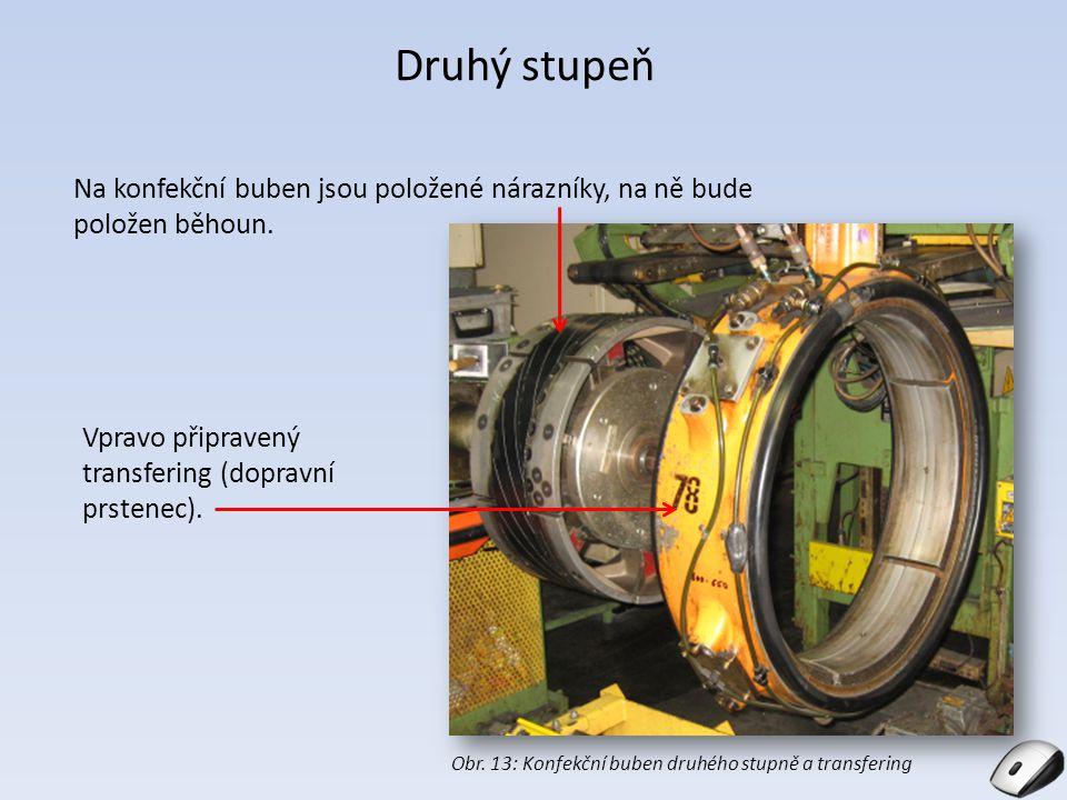 Druhý stupeň Na konfekční buben jsou položené nárazníky, na ně bude položen běhoun. Vpravo připravený transfering (dopravní prstenec).
