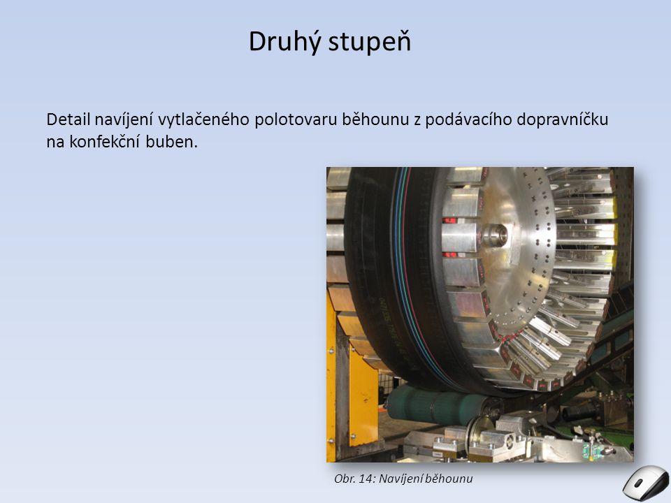 Druhý stupeň Detail navíjení vytlačeného polotovaru běhounu z podávacího dopravníčku na konfekční buben.
