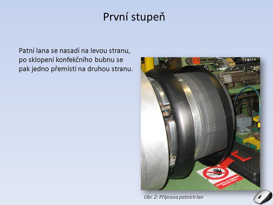 První stupeň Patní lana se nasadí na levou stranu, po sklopení konfekčního bubnu se pak jedno přemístí na druhou stranu.