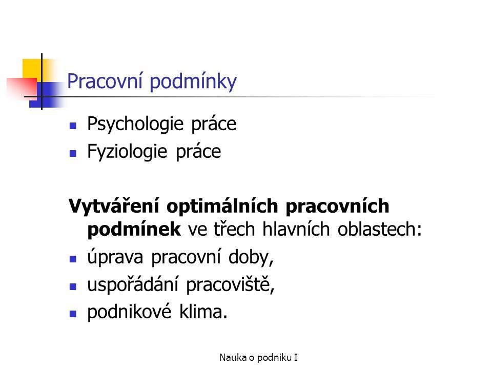 Pracovní podmínky Psychologie práce Fyziologie práce