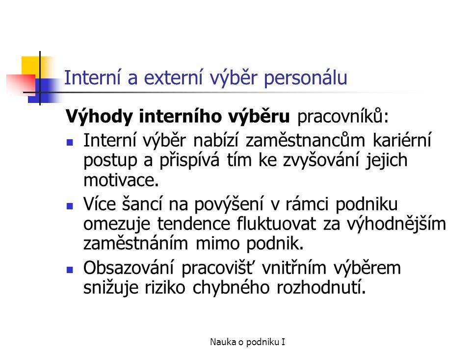 Interní a externí výběr personálu
