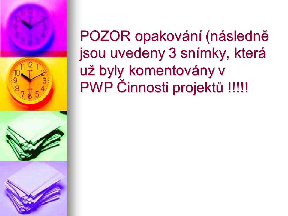 POZOR opakování (následně jsou uvedeny 3 snímky, která už byly komentovány v PWP Činnosti projektů !!!!!