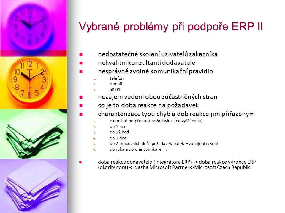 Vybrané problémy při podpoře ERP II