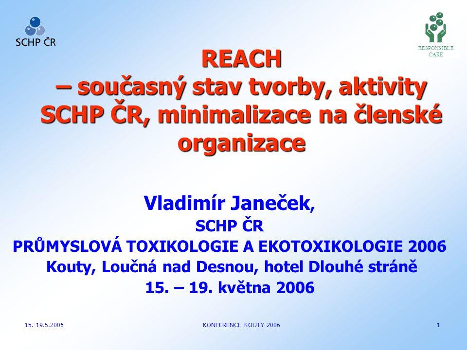 RESPONSIBLE CARE. REACH – současný stav tvorby, aktivity SCHP ČR, minimalizace na členské organizace.