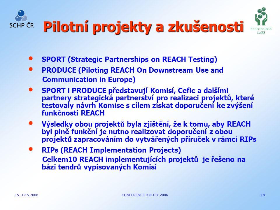 Pilotní projekty a zkušenosti
