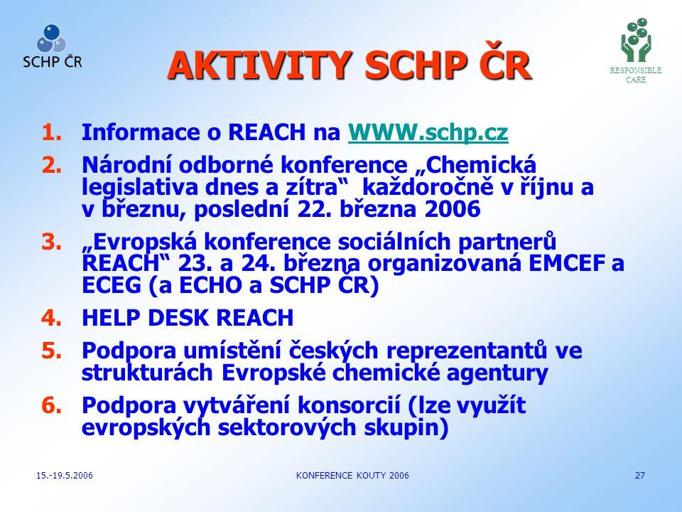 AKTIVITY SCHP ČR Informace o REACH na WWW.schp.cz