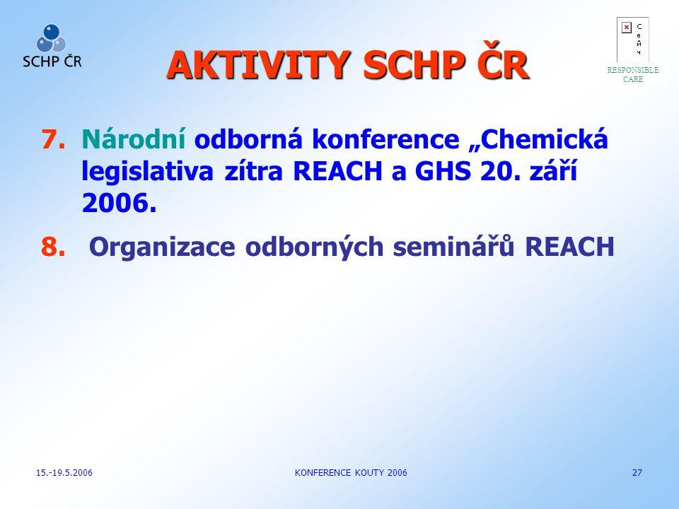 """AKTIVITY SCHP ČR RESPONSIBLE. CARE. Národní odborná konference """"Chemická legislativa zítra REACH a GHS 20. září 2006."""