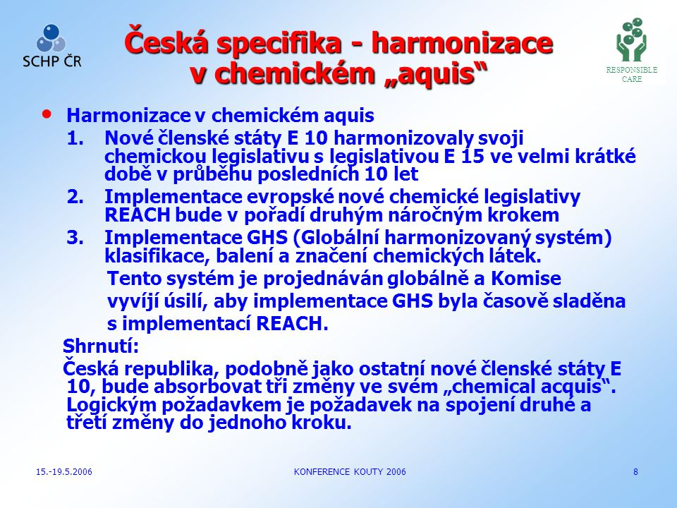 """Česká specifika - harmonizace v chemickém """"aquis"""