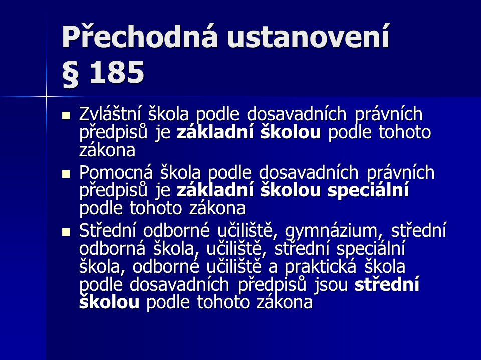 Přechodná ustanovení § 185