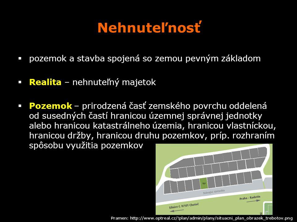 Nehnuteľnosť pozemok a stavba spojená so zemou pevným základom