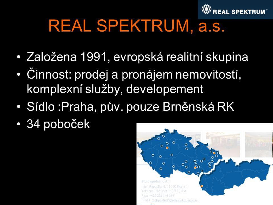 REAL SPEKTRUM, a.s. Založena 1991, evropská realitní skupina