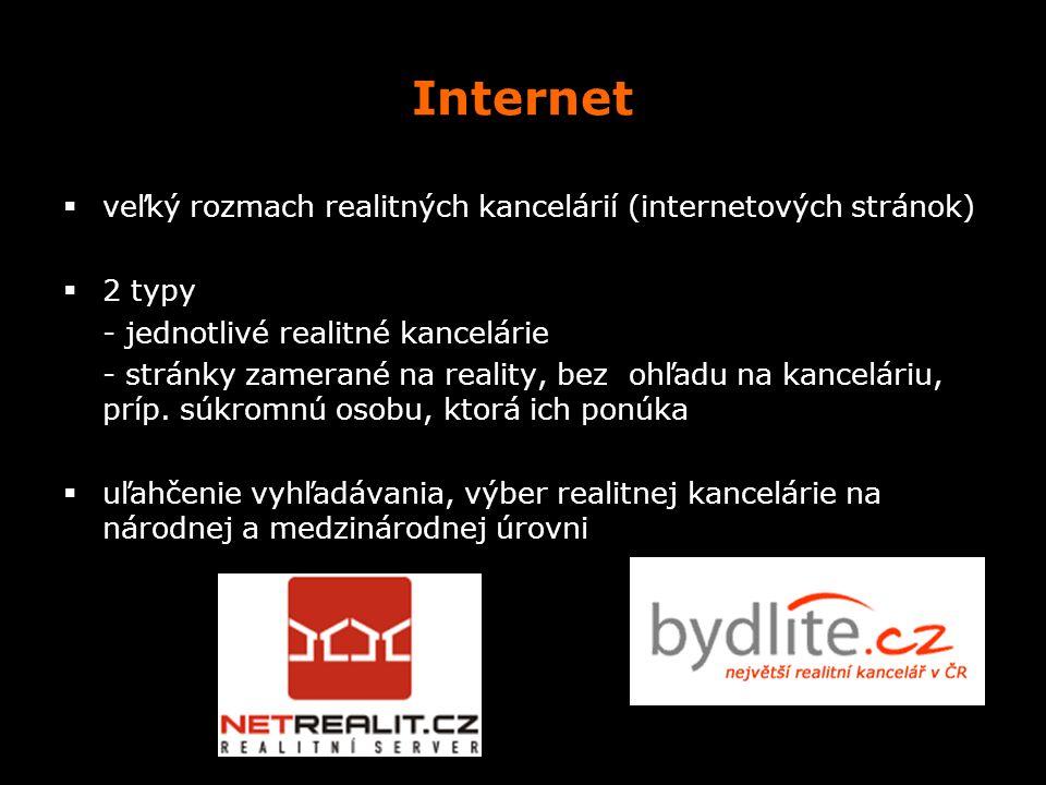 Internet veľký rozmach realitných kancelárií (internetových stránok)