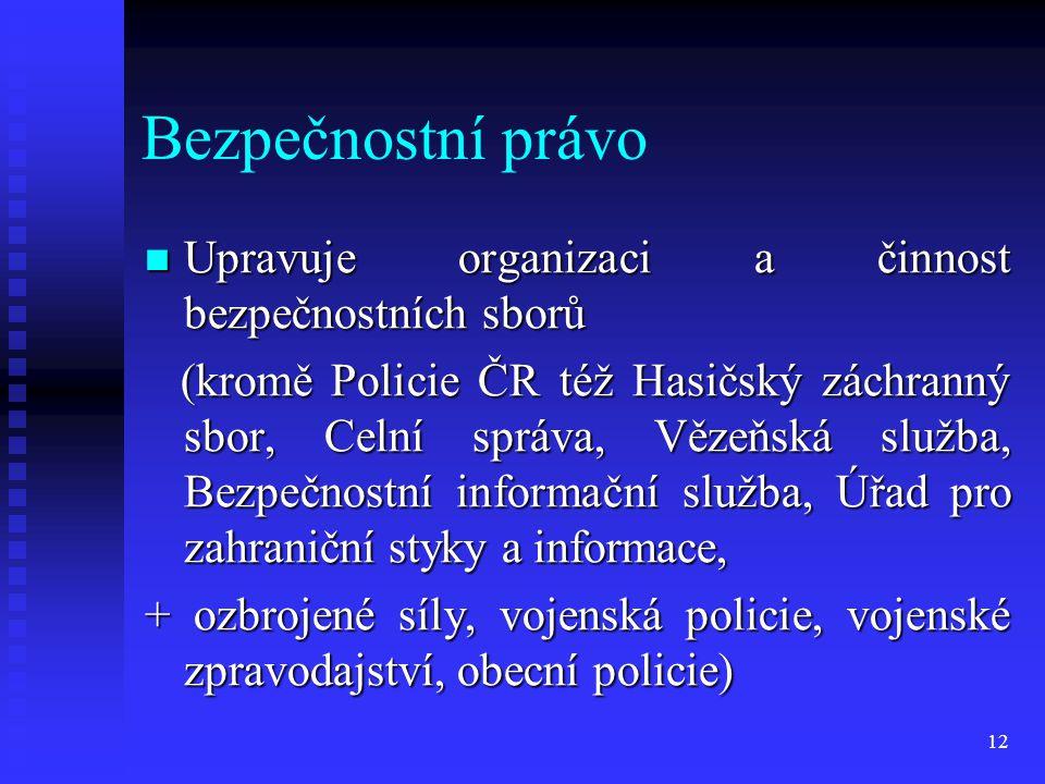 Bezpečnostní právo Upravuje organizaci a činnost bezpečnostních sborů