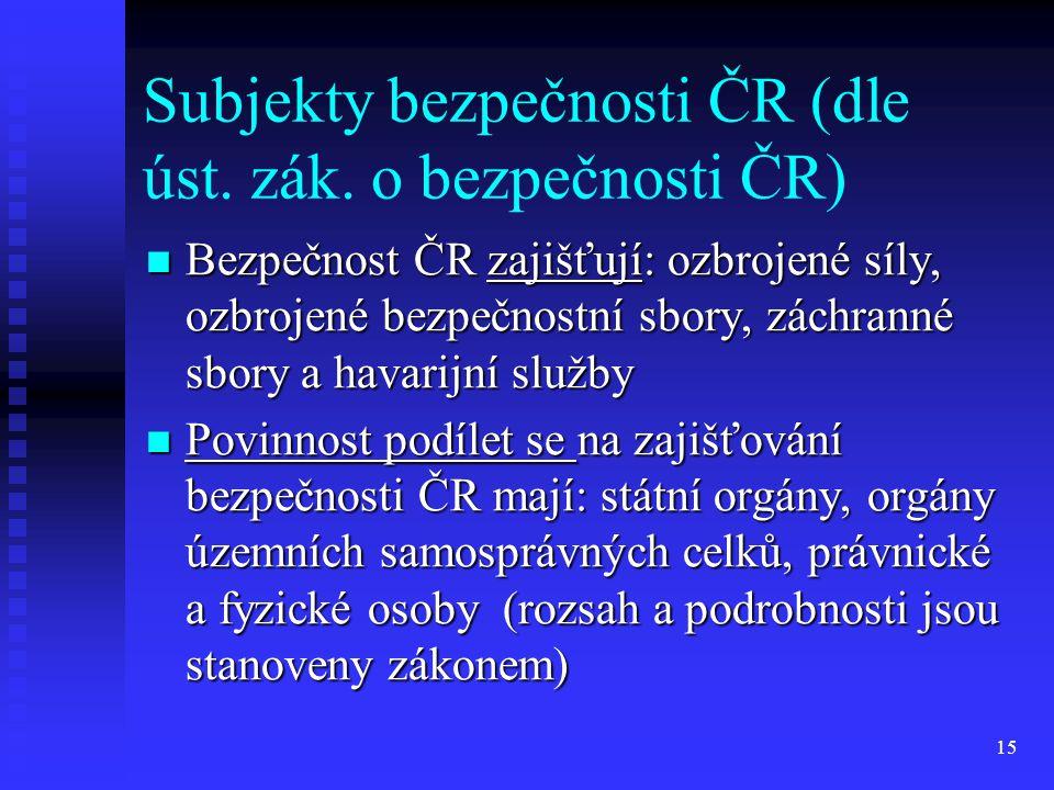 Subjekty bezpečnosti ČR (dle úst. zák. o bezpečnosti ČR)