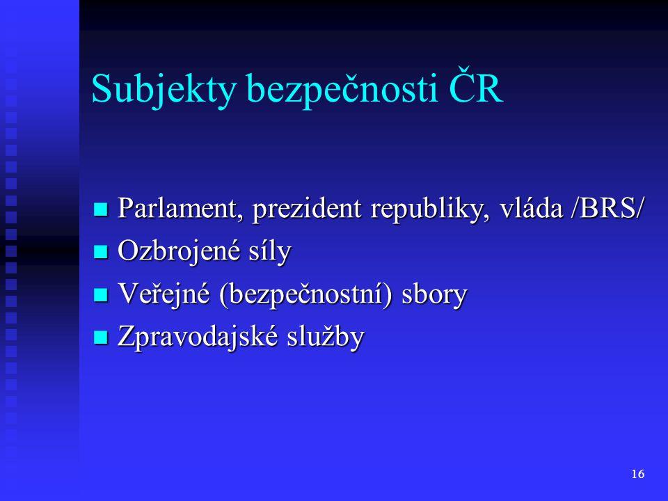 Subjekty bezpečnosti ČR