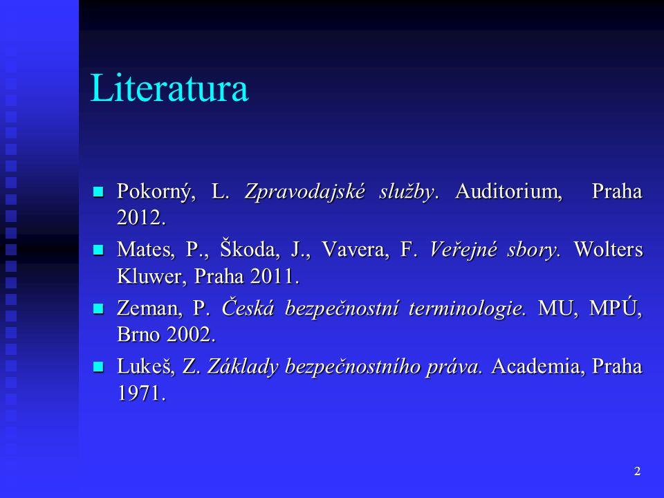 Literatura Pokorný, L. Zpravodajské služby. Auditorium, Praha 2012.