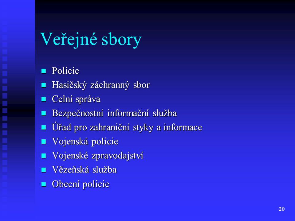 Veřejné sbory Policie Hasičský záchranný sbor Celní správa
