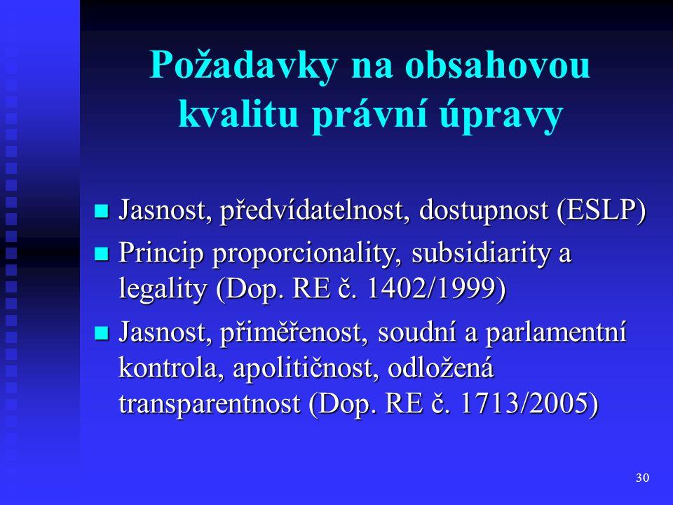 Požadavky na obsahovou kvalitu právní úpravy