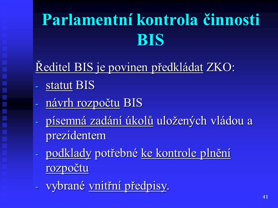 Parlamentní kontrola činnosti BIS