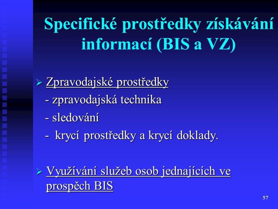 Specifické prostředky získávání informací (BIS a VZ)