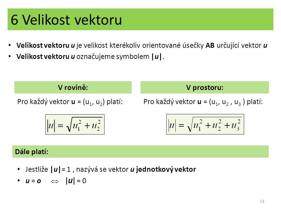 6 Velikost vektoru Velikost vektoru u je velikost kterékoliv orientované úsečky AB určující vektor u.
