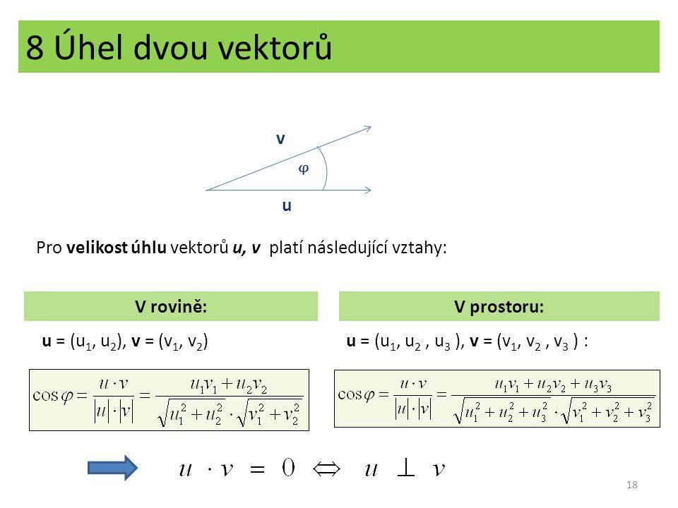 8 Úhel dvou vektorů v. ᵠ. u. Pro velikost úhlu vektorů u, v platí následující vztahy: V rovině: