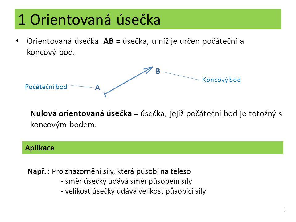 1 Orientovaná úsečka Orientovaná úsečka AB = úsečka, u níž je určen počáteční a koncový bod. B. Koncový bod.