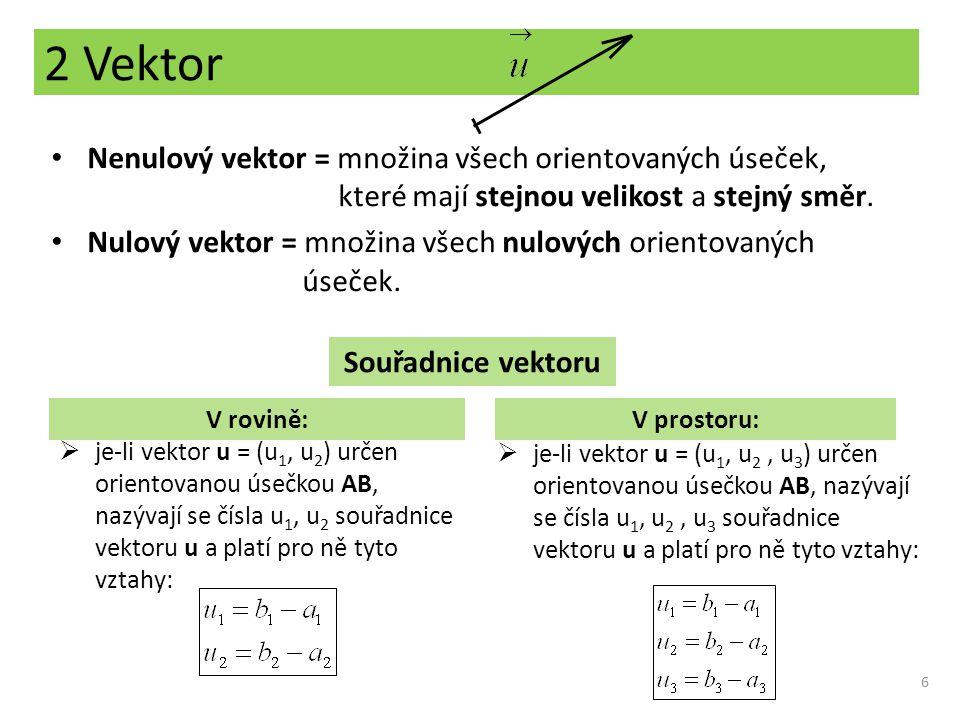 2 Vektor Nenulový vektor = množina všech orientovaných úseček,