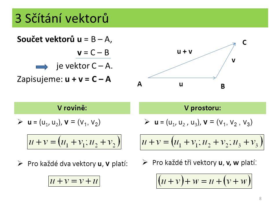 3 Sčítání vektorů Součet vektorů u = B – A, v = C – B je vektor C – A. Zapisujeme: u + v = C – A C.