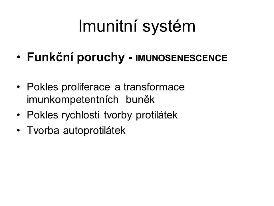 Imunitní systém Funkční poruchy - IMUNOSENESCENCE