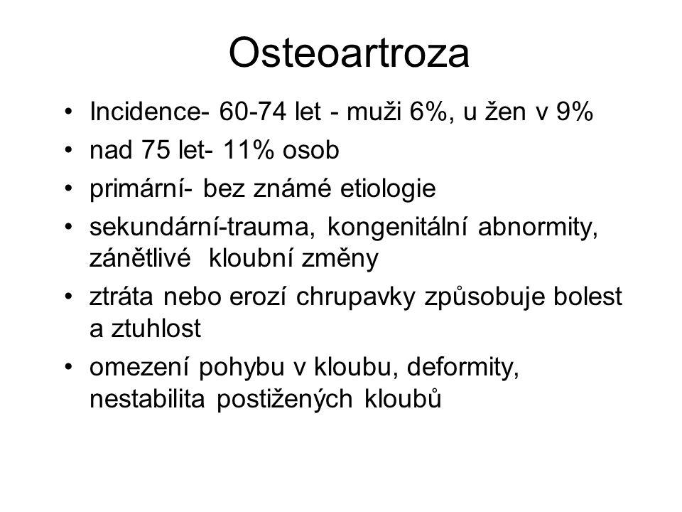Osteoartroza Incidence- 60-74 let - muži 6%, u žen v 9%