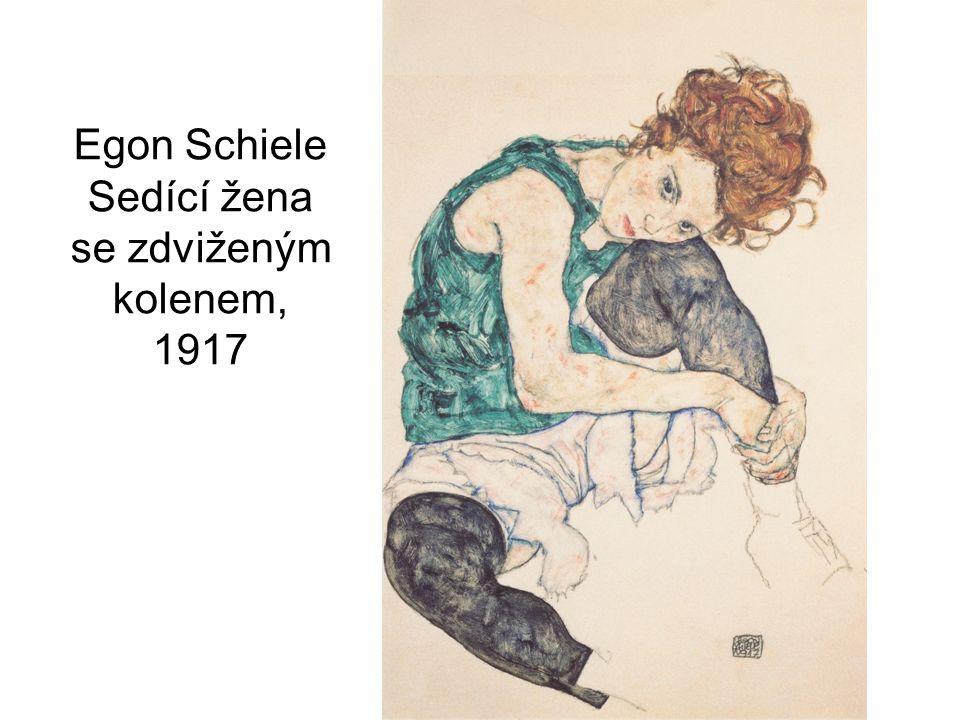 Egon Schiele Sedící žena se zdviženým kolenem, 1917