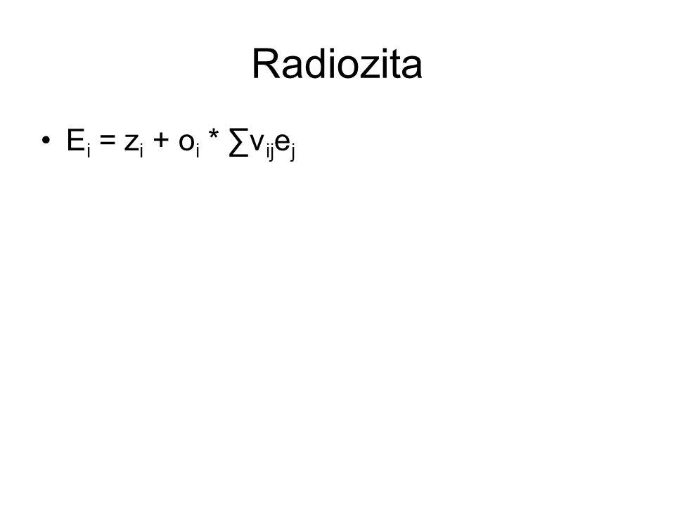 Radiozita Ei = zi + oi * ∑vijej